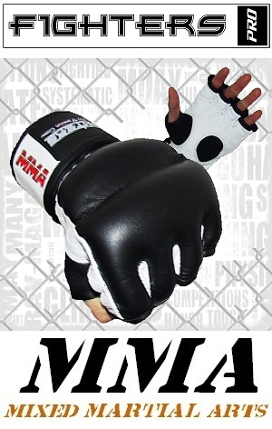 FIGHTERS - MMA Handschuhe / Cage Fight / Schwarz-Weiss / XS