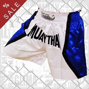 FIGHT-FIT - Muay Thai Shorts / Weiss-Blau / Small